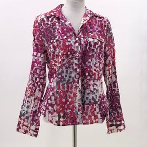 Ann Taylor button up blouse abstract print size 12